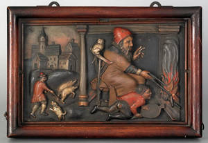 Continental carved and painted wood plaque 19th c