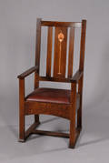 Inlaid Stickley Armchair In The Harvey Ellis Style