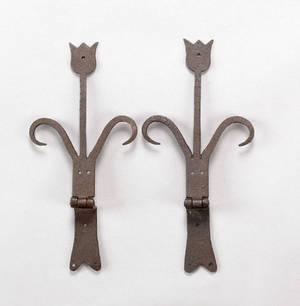 Pair of Pennsylvania wrought iron hinges ca 1800