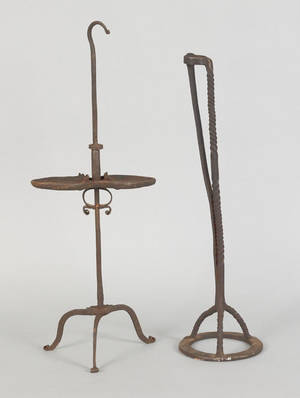 Two wrought iron lighting devices ca 1800