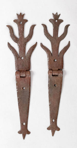 Pair of wrought iron hinges ca 1800
