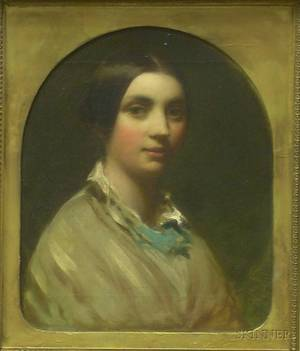 Framed Oil on Canvas Victorian Portrait of a Young Woman