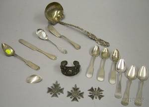 Group of Sterling and Coin Silver Flatware Serving Items and Jewelry