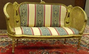 Louis XVI Style Caned and Upholstered Carved Giltwood Settee