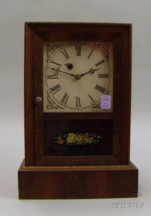 Mahogany Veneered Cottage Shelf Clock by Waterbury Clock Company