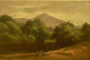 Framed American School Oil on Panel Landscape with Mountains