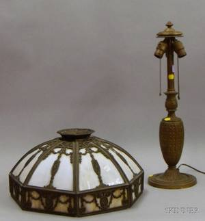 Bradley  Hubbard Metal Overlay and Bent Slag Glass Panel Table Lamp Shade and a Goldpainted Cast Metal Three