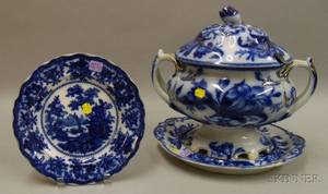 Gilt Highlighted Flow Blue Lily Pattern Footed Tureen with Cover and Undertray