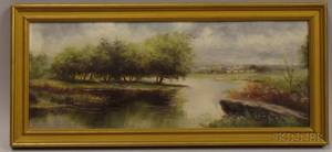 Framed Late 19th20th Century American School Oil on Panel Landscape
