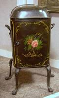 Painted and Decorated English Victorian Metal Plate Warming Cabinet