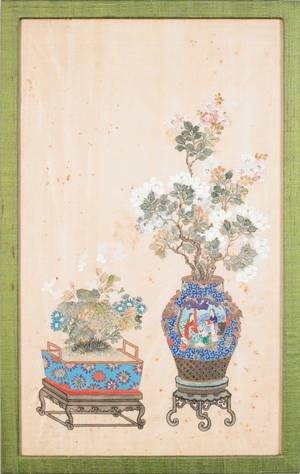 Pair of Chinese silk paintings