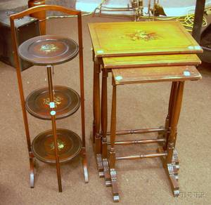 Oval Giltwood and Gesso Mirror Nest of Three Paint Decorated Stands and a Folding Muffineer