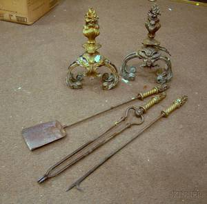 Pair of French Rococostyle Gilt Bronze Urn and Flame Chenets with a Set of Three Brass Fireplace Tools