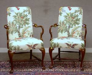 Pair of Southwood Queen Anne Style Floral Upholstered Carved Mahogany Armchairs