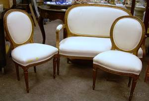 Threepiece Louis XV Style Upholstered Giltwood Seating Suite
