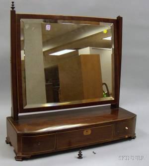 Inlaid Mahogany and Mahogany Veneer Dressing Mirror on ThreeDrawer Cabinet