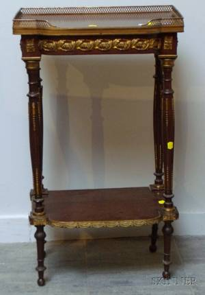 Louis XVI Style Giltmetal Mounted Mahogany Veneer TwoTier Stand