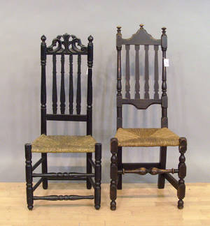 Pair of New England banisterback side chairs