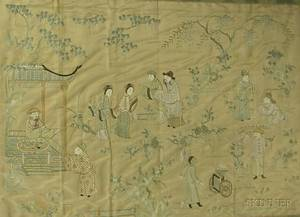 Large Brass Framed Chinese Silk Embroidered Panel