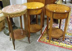 Pair of Regencystyle Circular Inlaid Parquetry and Veneer OneDrawer Stands and a Louis XVI Style Marbletop