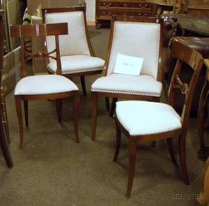 Pair of Biggs Classicalstyle Upholstered Mahogany Gondola Chairs and a Set of Six Parlor Side Chairs