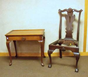 Pennsylvania Chippendalestyle Carved Mahogany Side Chair and a Queen Anne Style Carved Mahogany Traytop Tea T