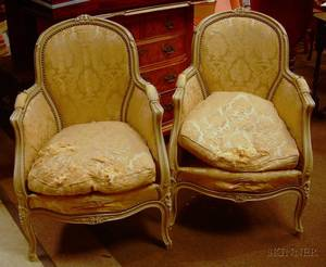 Pair of Louis XV Style Upholstered Painted Carved Wood Armchairs