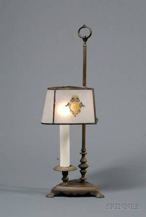 Cast Brass Candle Lamp with Leaded Acidetched Stained Armorial Decorated Glass Panel Shade
