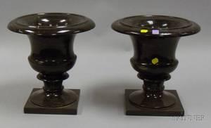 Pair of Italian Marble Urnform Garnitures