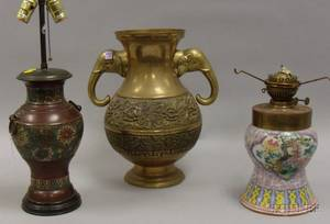 Chinese Brass Vase a Champleve Bronze Vase Table Lamp and an Enameled Ceramic Kerosene Table Lamp