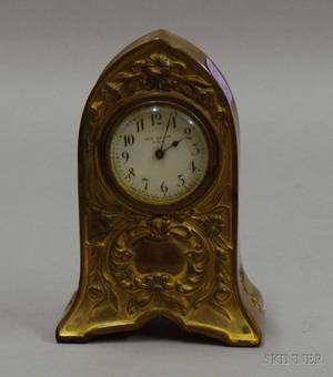 New Haven Art Nouveau Gilt Cast Metal Boudoir Timepiece