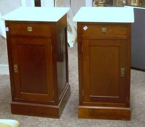 Pair of Edwardian White Marbletop Mahogany Bedside Cabinets