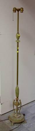 Art Deco Green Onyxmounted Brass Floor Lamp