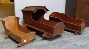Three Stained Pine Doll Cradles