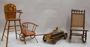 Three Childrens Items and a Painted Composition Model Automobile