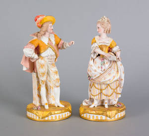 Pair of Meissen porcelain figures of a courting couple 19th c