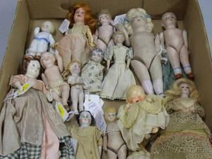 Twenty Assorted Miniature Bisque Dolls