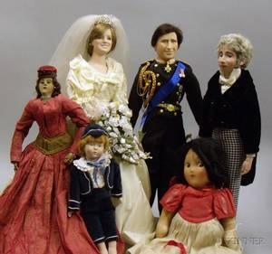 Nine Assorted Dolls and a Teddy Bear