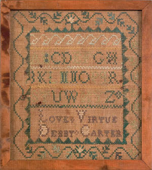 Miniature American silk on linen sampler