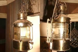 Pair of Antique Hanging Brass Nautical Lanterns