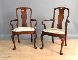 Pair of Baker Queen Anne style armchairs
