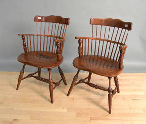 Pair of Duckloe Bros windsor armchairs