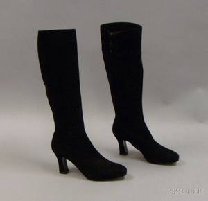 Pair of Salvatore Ferragamo Black Suede Calf Boots