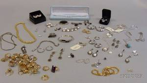 Large Group of Assorted Gilt Silver Costume Jewelry