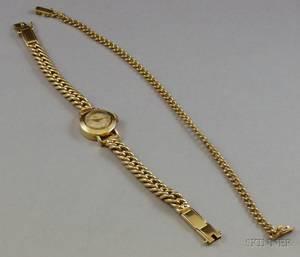 Ladys 17jewel Ete 14kt Gold Bracelet Wristwatch and a 14kt Gold Curblink Bracelet