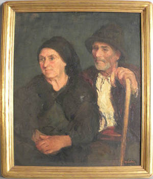 American oil on canvas portrait of a man and woman