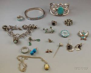 Small Group of Mostly Southwestern Silver Jewelry
