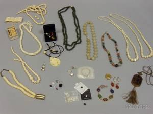 Group of Hardstone Motherofpearl and Bone Jewelry