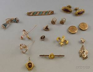 Small Group of Mostly Gold Victorian Jewelry