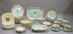 Fortysix Piece Adams Calyx Ware Partial Dinner Service and a Set of Seven Johnson Bros Transfer Old English P